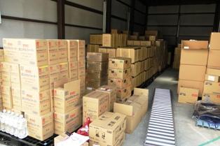 災害時用の備蓄品を救援物資として発送